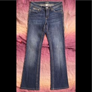 Cache Bootcut Embelleshed Flap Pocket Jeans